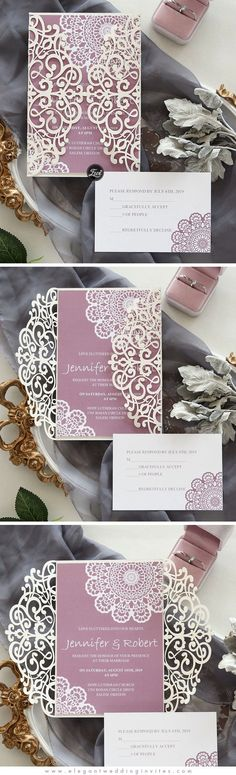 Dreamy Mauve- Ivory Laser Cut Wrap invitation with background in mauve colors EWWS245