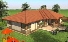 Egyszintes családi ház 167 m2 | Családiházam.hu Village House Design, Village Houses, Modern Family House, Modern Houses, My House, Gazebo, House Plans, New Homes, Exterior