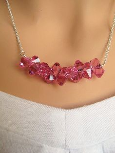 Inspiration Photo: Crystal Ice Branch - Swarovski Hot Pink Fuschia Crystals sterling silver row necklace.