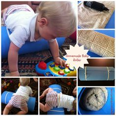 Homemade roller for babies to encourage tummy time and pre-crawling skills~ Oh, how I wish I had known this when Di was younger. Gross Motor Activities, Kids Learning Activities, Gross Motor Skills, Infant Activities, Toddler Learning, Baby Sensory Play, Baby Play, Teach Baby To Crawl, Baby Tummy Time