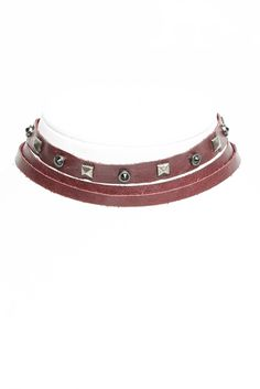 Streets Ahead Studded Leather Wrap Choker Necklace in WINE