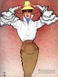 René Gruau: Hubert de Givenchy's 'Bettina blouse', 1952.