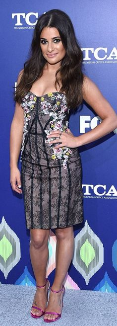 Who made  Lea Michele's black lace floral dress?