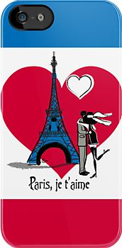 Paris Je t'aime /  Romantic Lovers Kissing Moonlight Eiffel tower/ art by Cecely Bloom (iPhone, Samsung case)