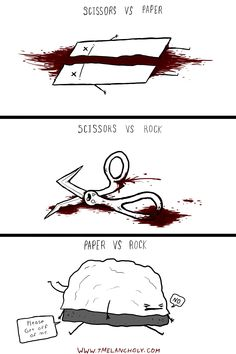 Rock Paper Scissors<<<The first two are a little gruesome, but the last one made me laugh so I'm pinning it XD Crazy Funny Memes, Really Funny Memes, Stupid Memes, Funny Relatable Memes, Wtf Funny, Funny Fails, Funny Cute, Funny Jokes, Hilarious