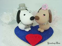 Custom Kawaii Dogs Love Wedding Cake Topper with Heart Base - SPECIAL  FOR 2013. $59.00, via Etsy.