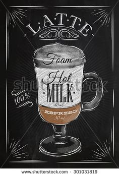 Poster coffee caramel macchiato in vintage style drawing with chalk on the blackboard Coffee Menu, Coffee Drinks, Iced Coffee, Coffee Shop, Cappuccino Coffee, Coffee Dessert, Coffee Girl, Coffee Scrub, Coffee Signs