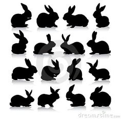 Collection of different rabbit silhouettes