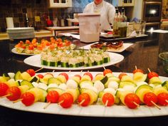 Polenta Skewers and Salmon Rillettes on Cucumber