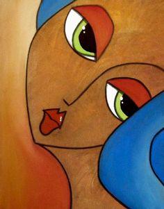 Art 'Sensitive' - by Thomas C. Fedro from Faces Rasta Art, Abstract Face Art, Cubism Art, Arte Pop, Watercolor Artists, Graphic Wallpaper, Cute Art, Art Portfolio, Sculpture Art