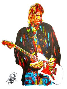 """Kurt Cobain of Nirvana: POSTER from Original Drawing 18"""" x 24"""" Signed & Dated by Artist w/COA"""