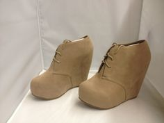 Nude Lace Up Wedges - $40.00