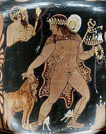 4. Hermes levando um bode ao sacrifício. Detalhe de kratera da Campânia, c. 360–350 a.C. Museu do Louvre, Paris.