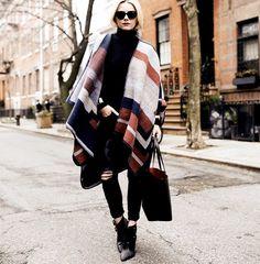 Blair Eadie wearing a geometric cape