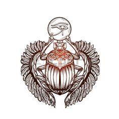 tatouage egypt: image isolée de tatouage vecteur Scarab noir beetleon un fond blanc. sacer Carabaeus. L'ancien symbole spirituel de l'Egypte, Dieu Khepri Illustration