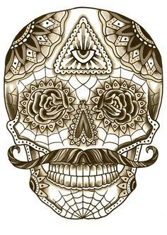 ~ Mexican skull mustache ~