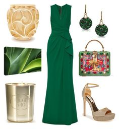 """Green to Cannes"" by tisley on Polyvore featuring mode, Elie Saab, Marco Moore, Badgley Mischka, Dolce&Gabbana, Baccarat et Lalique"