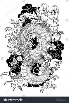hand-drawn-dragon-tattoo-coloring-book-japanese-style-traditional-ocean-flower-c. - hand-drawn-dragon-tattoo-coloring-book-japanese-style-traditional-ocean-flower-carp-line-drawing-im - Dragon Tattoo Colour, Dragon Tattoo Sketch, Dragon Sleeve Tattoos, Dragon Tattoo Designs, Dragon Tattoo For Women, Color Tattoo, Geisha Tattoo For Men, Dragon Tattoo With Flowers, Dragon Hand Tattoo