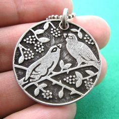 $10 Love Birds and Floral Pattern Coin Charm Necklace in Antique Silver