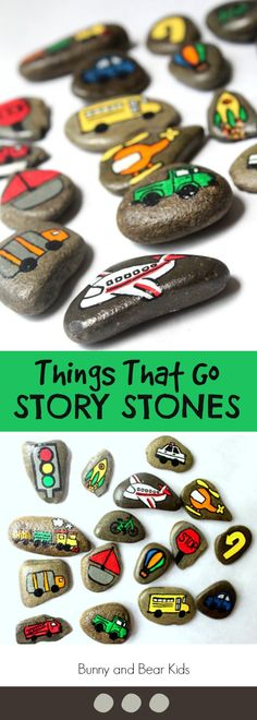 Things That Go Story Stones Craft Activities, Preschool Activities, Literacy And Numeracy, Bunny And Bear, Story Stones, Toddler Play, Early Childhood Education, Painted Stones, Autism