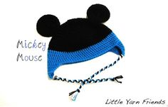 """Here is another beanie modified from Sarah's (RepeatCrafterMe) sock monkey hat crochet pattern that she shared """"Here"""" for Free. This mickey beanie is for adults. If you want to make mickey and minnie..."""