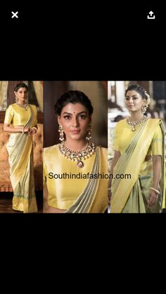 Actress anisha ambrose walked for rajyalakshmi gubba at teach for change fashion show event wearing a green and yellow banarasi silk saree paired with Wedding Reception Hairstyles, Wedding Hairstyles, Wedding Dresses, Wedge Hairstyles, Trendy Hairstyles, Indian Wedding Wear, Indian Wear, Silk Saree Blouse Designs, High Neck Blouse
