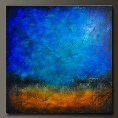 Sapphire and Sand 5 - 48 x 48 - Abstract Acrylic Painting - Huge Contemporary Wall Art. via Etsy.