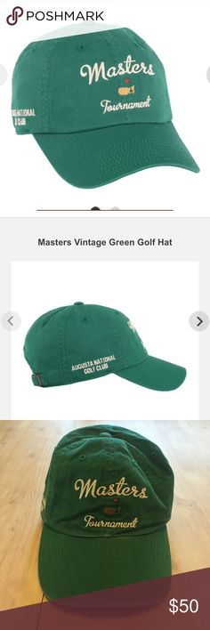 Masters Golf Tournament Vintage Green Auth Hat NWT Authentic Masters Golf Tournament vintage Green NWT logo embroidered adjustable only sold for 1 week during Masters in April . You can buy mine here .in June 🏁 Masters Golf Accessories Hats Masters Tournament, Golf Green, Masters Golf, Golf Practice, Golf Tips For Beginners, Golf Accessories, Vintage Green, Golf Clubs, Improve Yourself