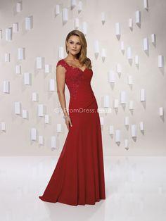 A-line Straps Applique Red Chiffon Mother of the Bride Dress - gopromdres.com