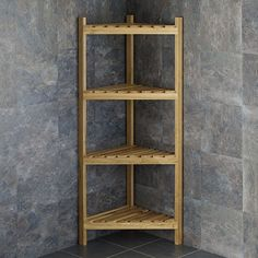 ** Last One ** Slatted Solid Oak Tall Corner Freestanding Shelf Storage Unit Bathroom Corner Shelf, Bathroom Storage Units, Ikea Storage Cabinets, Small Bedroom Storage, Rustic Bathroom Shelves, Kitchen Corner, Oak Bathroom, Office Bathroom, Bedroom Office