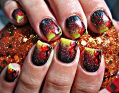 365 days of nail art   Fire Nail Art