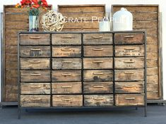 The 24 Crate Rope Dresser - Credenza - Reclaimed old Barn Wood and Vintage Wood Crates - Today Pin Old Barn Wood, Reclaimed Barn Wood, Cageots Vintage, Vintage Wood Crates, Shipping Crates, Custom Made Furniture, Old Barns, Wood Planks, Credenza