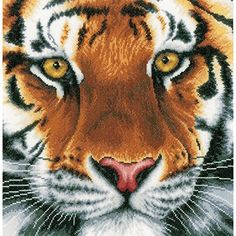 Vervaco 14 Count LanArte Tiger On Aida Counted Cross Stitch Kit, 13.75″ x 13.5″ – Friendly Faces