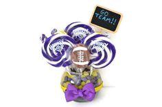 #lollipop #candy #centerpiece #etsy #edibleweddings #football #sports #birthday #candybuffet Small Lollipop Baby Shower Centerpiece (Blue)