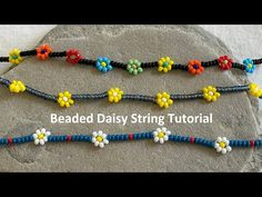 Beaded Daisy String Video Instructions - YouTube Handmade Wire Jewelry, Diy Jewelry, Beaded Jewelry, Jewelry Making Tutorials, Beading Tutorials, Beaded Bracelets Tutorial, Native American Beading, Daisy Chain, Weaving Patterns