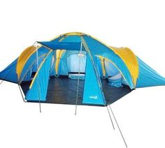 Wonderful family camping tent for spring camping trip: 6 - 8 Man 4 Rooms Dome Family Camping Tent - Blue