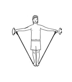 Strengthen Your Rotator Cuff Muscles    While standing on the band and holding the handles, reach your arms out to your sides and bring your hands as high as you can -- but not more than shoulder height. Rotate arms clockwise in small circles (about the size of a cantaloupe) 25 times, then switch direction and rotate arms counterclockwise 25 times.