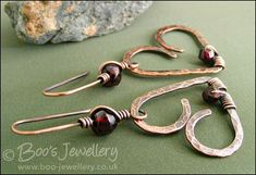 Antiqued copper and garnet wire wrapped heart earrings