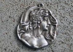 Sterling Silver Art Nouveau Great Gatsby Lady Bracelet Pendant Old Button Charm | eBay