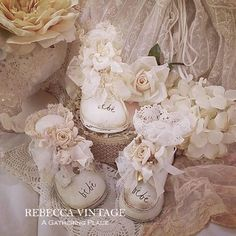 Vintage Baby Shoes turned into lavender sachets.  From A Gathering Place/RebeccaVintage.com