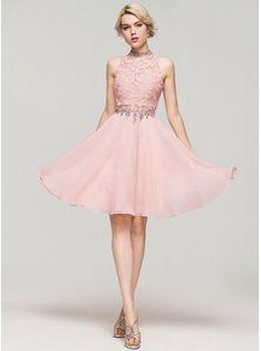 A-Line/Princess High Neck Knee-Length Chiffon Homecoming Dress With Beading Sequins (022087618)