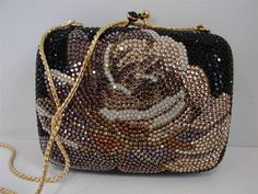 Judith Leiber Small Black/Brown Floral Crystal Clutch/Purse/Bag w/Gold Chain