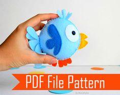 Funny  Felt Bird plush pattern  DIY sewing Pattern by Mariapalito