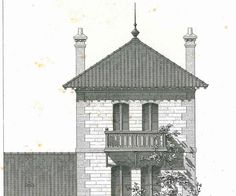 1873 French Architectural Drawing Facade Elevation Cross Section Black and White Home Decor