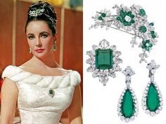 Screen Queen, Elizabeth Taylor, wearing her Bulgari emerald and diamond tiara and parure. Elizabeth Taylor Schmuck, Elizabeth Taylor Diamond, Estilo Glamour, Diamond Flower, Emerald Diamond, Diamond Tiara, Diamond Pendant, Diamond Rings, Fascinators
