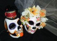 Day of the Dead Wedding Mask Set Dia de los Muertos by Masquefaire, $125.00