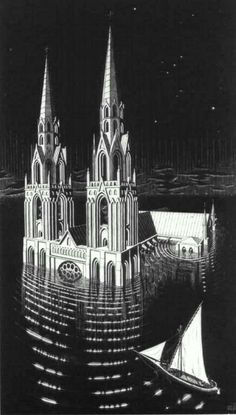 """Drowned Cathedral"" - by M.C. Escher Fantasy Coloring pages colouring adult detailed advanced printable Kleuren voor volwassenen coloriage pour adulte anti-stress kleurplaat voor volwassenen"