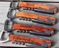 Gift your groomsmen personalized corkscrews.