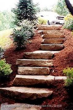 Stone Staircase : DIY site: http://crstone.hubpages.com/hub/How-to-build-stone-or-rock-steps