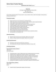 7 Best Jobs Images Dance Resume Dance Teacher Application Cover